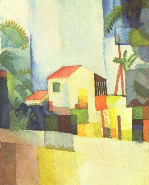 August Macke - Helles Haus; Aquarell; 1914